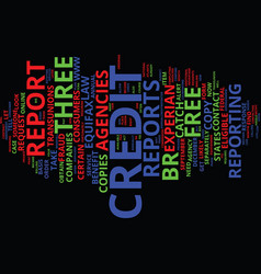 Free credit reports for you text background word vector