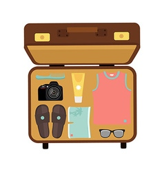Packed suitcase vector image