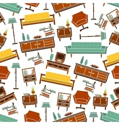 Seamless retro home furniture pattern background vector image vector image