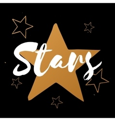 set of stars with white text gold stars on vector image