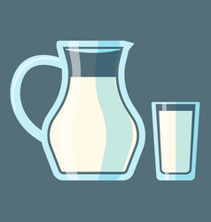traditional old fashioned glass milk jug bottle vector image vector image