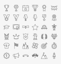winning award line icons set vector image