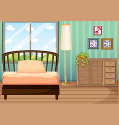 bedroom with wooden furnitures vector image