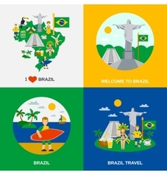 Brazilian Culture 4 Flat Icons Square vector image vector image