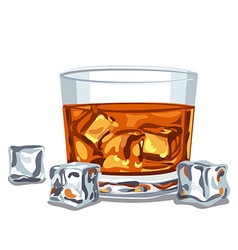 glass of whiskey vector image vector image