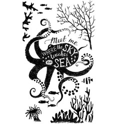 hand drawn lettering in octopus silhouette vector image