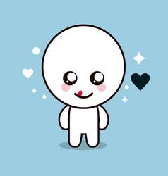 Kawaii cartoon circle face expression cute icon vector