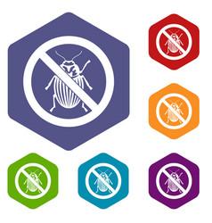 no potato beetle sign icons set vector image vector image