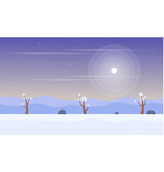 Winter with snow scenery game background vector