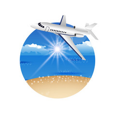 Beautiful summer postcard with beach and plane vector image