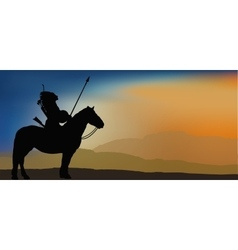 Brave Indian Warrior in Mountains vector image