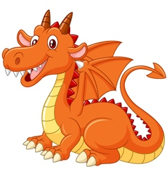 Cartoon dragon posing on white background vector image