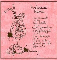Hand drawn Bahama Mama cocktail vector image