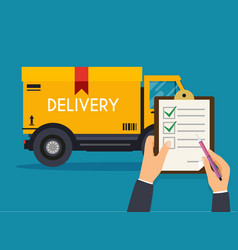 Hand holding clipboard with delivery tracking vector