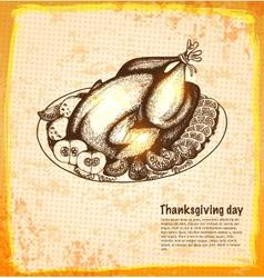 Roast turkey for holiday dinner vector