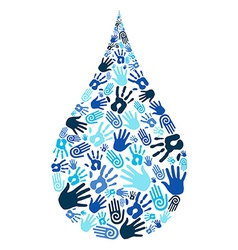 Save water diversity hand shape vector image vector image