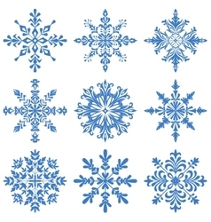 Snowflakes Silhouette Set vector image