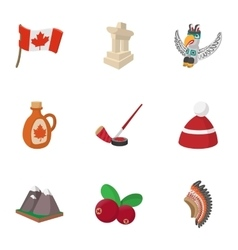 Attractions of Canada icons set cartoon style vector image vector image