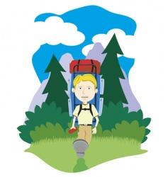 boy hiking vector image vector image
