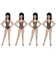 Collection of lingerie body vector