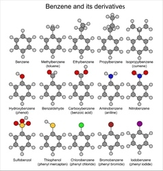 Formulas of benzene and its derivatives vector image vector image