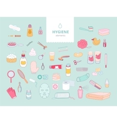 Hygiene elements on green background vector image vector image