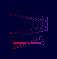 xylophone sign line icon with gradient vector image