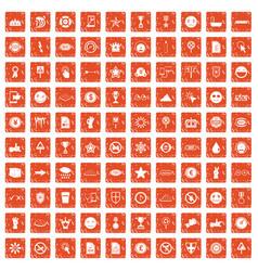 100 symbol icons set grunge orange vector