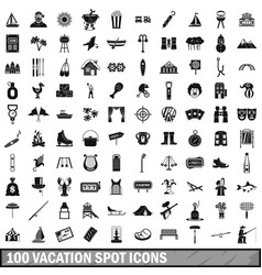 100 vacation spot icons set simple style vector