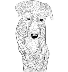 Adult coloring bookpage a cute dog in a cup image vector