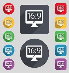 Aspect ratio 16 9 widescreen tv icon sign A set of vector image