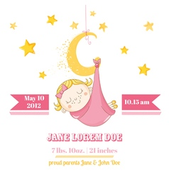 Baby Girl Sleeping on a Moon - Baby Shower Card vector