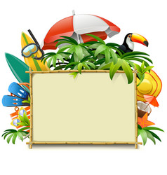 Beach accessories with bamboo frame vector