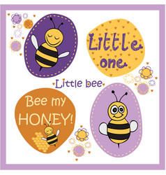 bee stickers vector image