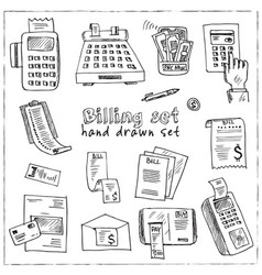 billing hand drawn doodle set isolated elements vector image