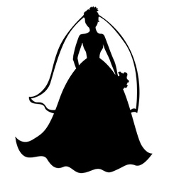 bride silhouette black vector image