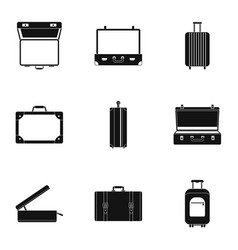 briefcase icon set simple style vector image