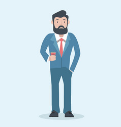 business man character with flat design vector image