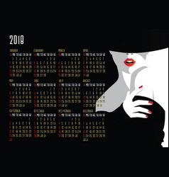 Calendar with fashion girl in style pop art vector