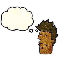cartoon man feeling sick with thought bubble vector image