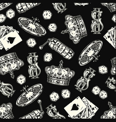 casino vintage monochrome seamless pattern vector image