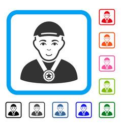 Champion framed gladness icon vector