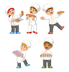 chef are holding their bread and cookies vector image