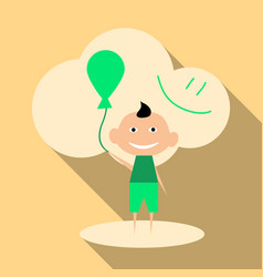 child playing with balloons isolated on vector image