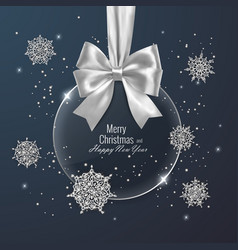Christmas card decorated with shiny snowflakes vector
