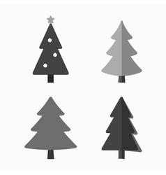 christmas tree cartoon icons set vector image