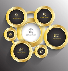 Circle gold with icons vector image