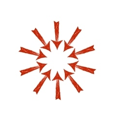 circle of red grunge arrows vector image