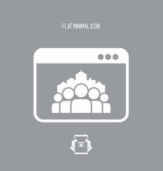 cityscape and people community - flat minimal icon vector image