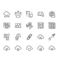 cloud data storage line icons set database vector image